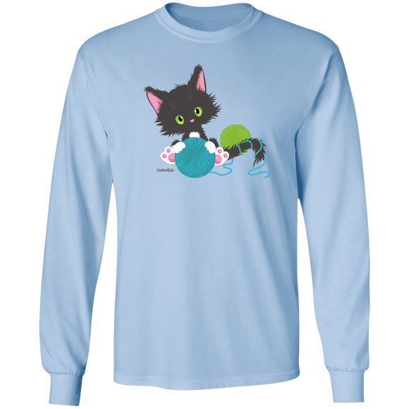 Grey Tuxedo Kitty Holding Ball of Yarn LS Ultra Cotton T-Shirt