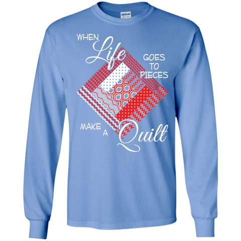 Make a Quilt (red) Long Sleeve Ultra Cotton T-Shirt - Crafter4Life - 1