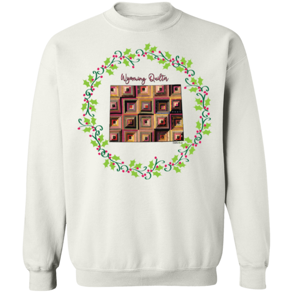 Wyoming Quilter Christmas Crewneck Pullover Sweatshirt