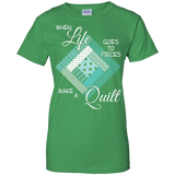 Make a Quilt (turquoise) Ladies Custom 100% Cotton T-Shirt - Crafter4Life - 8