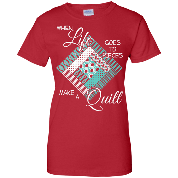 Make a Quilt (turquoise) Ladies Custom 100% Cotton T-Shirt - Crafter4Life - 1