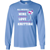 All I Need is Wine-Love-Knitting Long Sleeve Ultra Cotton Tshirt - Crafter4Life - 9