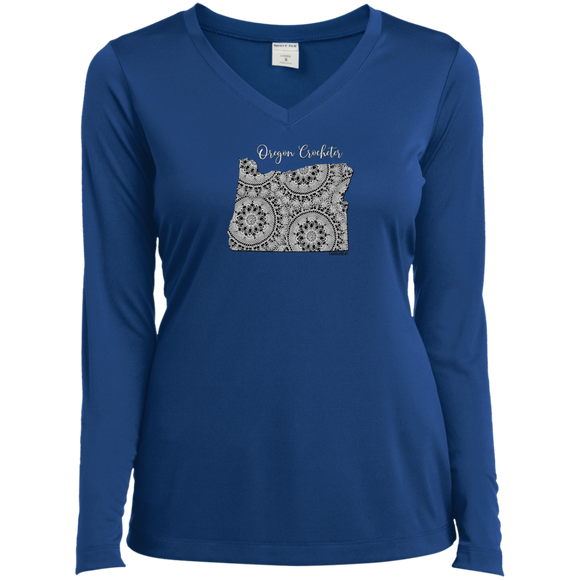 Oregon Crocheter Ladies' LS Performance V-Neck Shirt