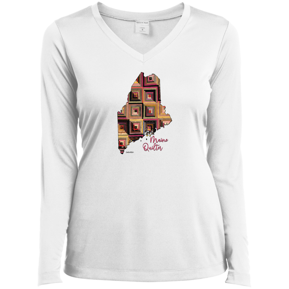 Maine Quilter Ladies' LS Performance V-Neck Shirt