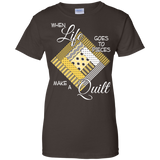Make a Quilt (yellow) Ladies Custom 100% Cotton T-Shirt - Crafter4Life - 4