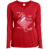 Make a Quilt (pink) Ladies Long Sleeve V-neck Tee - Crafter4Life - 4