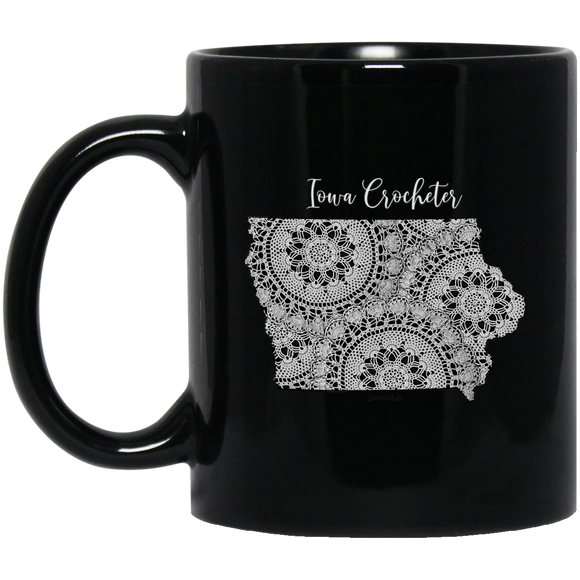 Iowa Crocheter Black Mugs