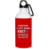 Just Wanna Knit 20 oz. Stainless Steel Water Bottle