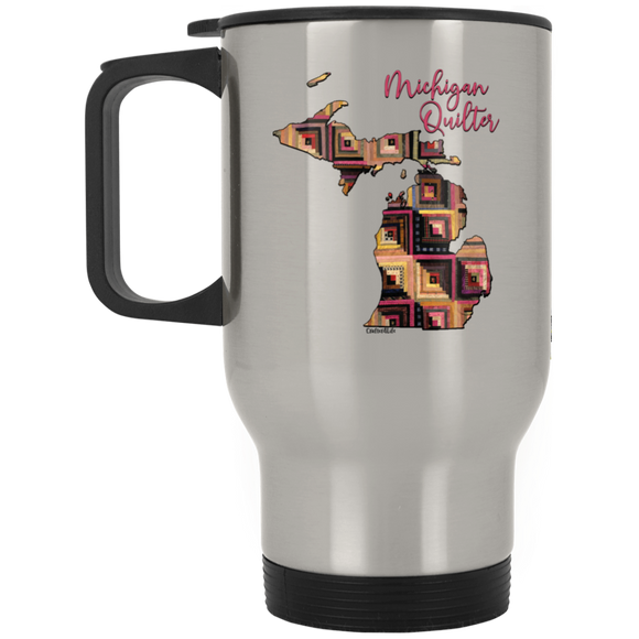 Michigan Quilter Silver Stainless Travel Mug