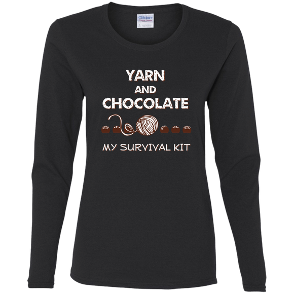 Yarn and Chocolate Ladies Long Sleeve Shirts