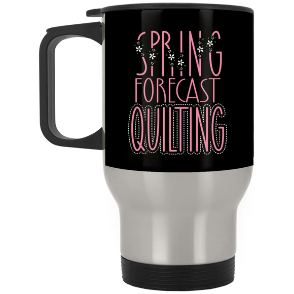 Spring Forecast Quilting Silver Stainless Travel Mug