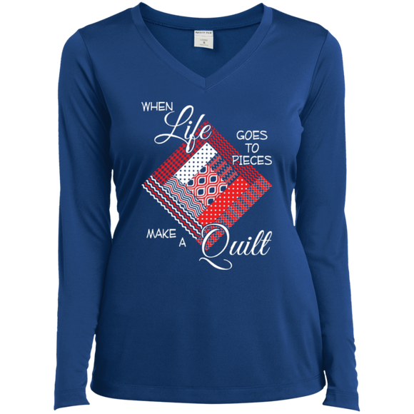 Make a Quilt (red) Long Sleeve V-neck Tee - Crafter4Life - 1