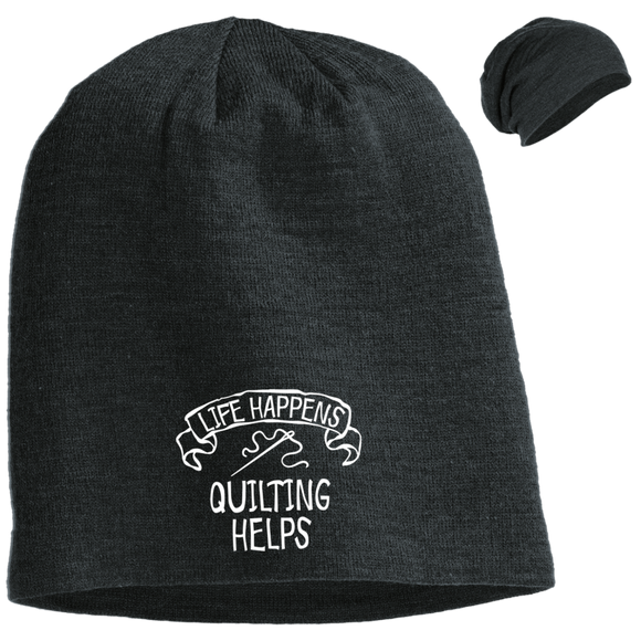 Life Happens - Quilting Helps Slouch Beanie