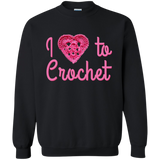 I Heart to Crochet Crewneck Pullover Sweatshirt
