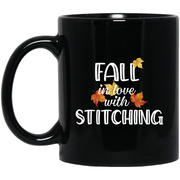 Fall in Love with Stitching Black Mugs
