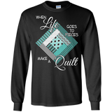 Make a Quilt (turquoise) Long Sleeve Ultra Cotton T-Shirt - Crafter4Life - 2