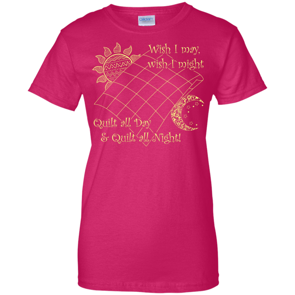 Wish I May Quilt Ladies Custom 100% Cotton T-Shirt - Crafter4Life - 1