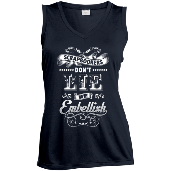 Scrapbookers Don't Lie Ladies Sleeveless V-Neck - Crafter4Life - 3