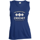 I Am Happiest When I Crochet Ladies Sleeveless V-neck - Crafter4Life - 4