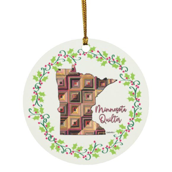Minnesota Quilter Christmas Circle Ornament
