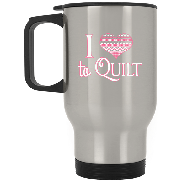 I Heart to Quilt Stainless Travel Mug