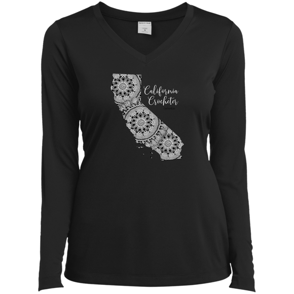 California Crocheter Ladies' LS Performance V-Neck Shirt