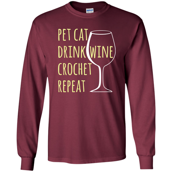 Pet Cat-Drink Wine-Crochet LS Ultra Cotton T-Shirt