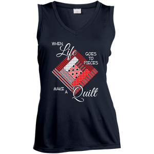 Make a Quilt (red) Ladies Sleeveless V-Neck - Crafter4Life - 1