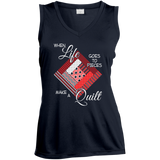 Make a Quilt (red) Ladies Sleeveless V-Neck - Crafter4Life - 3