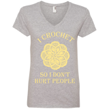 I Crochet So I Don't Hurt People Ladies V-neck Tee - Crafter4Life - 2