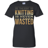 Time Spent Knitting Ladies Custom 100% Cotton T-Shirt - Crafter4Life - 2