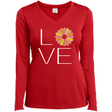 LOVE Quilting (Fall Colors) Ladies Long Sleeve V-neck Tee - Crafter4Life - 4