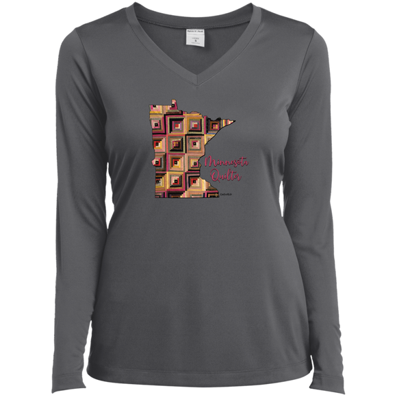 Minnesota Quilter Ladies' LS Performance V-Neck Shirt