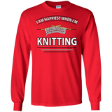 I Am Happiest When I'm Knitting Long Sleeve Ultra Cotton T-Shirt - Crafter4Life - 11