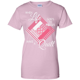 Make a Quilt (pink) Ladies Custom 100% Cotton T-Shirt - Crafter4Life - 8