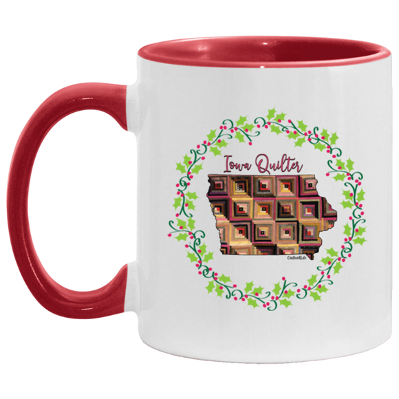 Iowa Quilter Christmas Accent Mug
