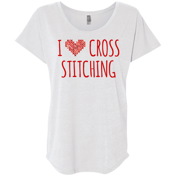 I Heart Cross Stitching Ladies Triblend Dolman Sleeve
