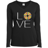 LOVE Quilting (Fall Colors) Ladies Long Sleeve V-neck Tee - Crafter4Life - 2