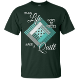 Make a Quilt (turquoise) Custom Ultra Cotton T-Shirt - Crafter4Life - 3
