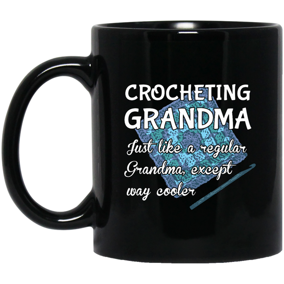Crocheting Grandma Black Mugs