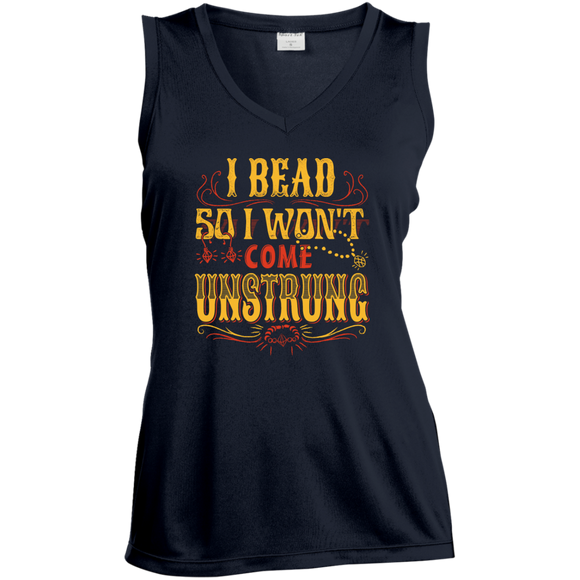 I Bead So I Won't Come Unstrung (gold) Ladies Sleeveless V-neck - Crafter4Life - 1