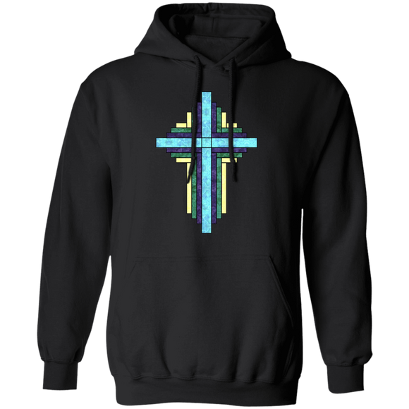 Batik Stained Glass Quilt Cross Pullover Hoodie