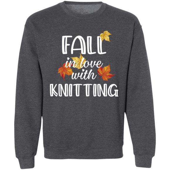 Fall in Love with Knitting Crewneck Pullover Sweatshirt