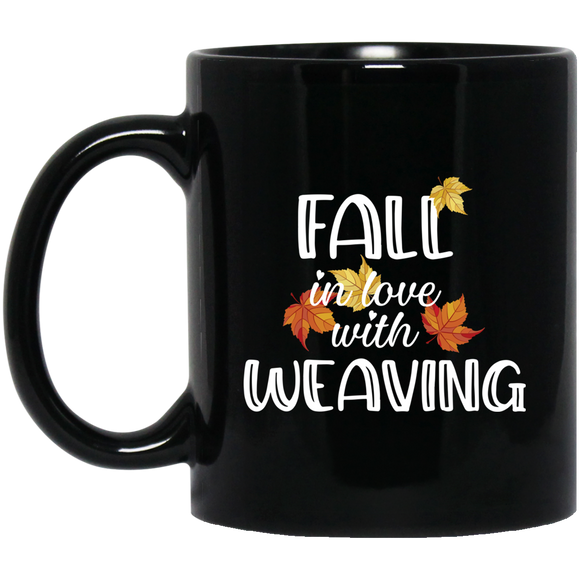 Fall in Love with Weaving Black Mugs