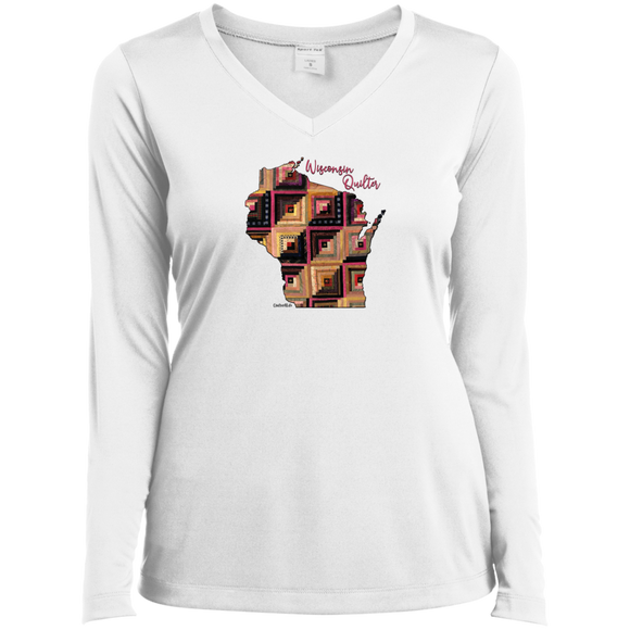 Wisconsin Quilter Ladies' LS Performance V-Neck Shirt