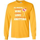 All I Need is Wine-Love-Knitting Long Sleeve Ultra Cotton Tshirt - Crafter4Life - 5