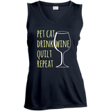 Pet Cat-Drink Wine-Quilt Ladies Sleeveless Moisture Absorbing V-Neck