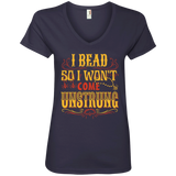 I Bead So I Won't Come Unstrung (gold) Ladies V-neck Tee - Crafter4Life - 5