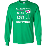 All I Need is Wine-Love-Knitting Long Sleeve Ultra Cotton Tshirt - Crafter4Life - 6