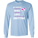 All I Need is Wine-Love-Knitting Long Sleeve Ultra Cotton Tshirt - Crafter4Life - 7